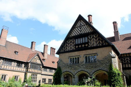 Schloss Cecilienhof is a palace located in Neuer Garten Potsdam, where the Potsdam Conference took place in 1945. Stock Photo