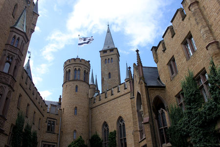 Hohenzollern Castle on a sunny day in Germany.
