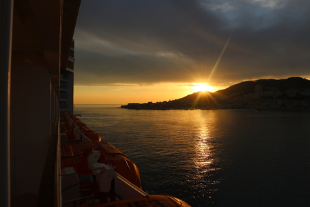 the breathtaking sunset on the Iles Sanguinaires Bloody Islands near Ajaccio, Corsica, France. Stock Photo