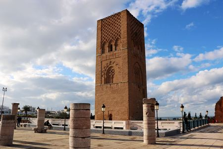 Morocco,Rabat. The Hassan Tower opposite the Mausoleum of King Mohamed V.