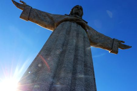 The Cristo Rei monument of Jesus Christ in Lisbon, Portugal.