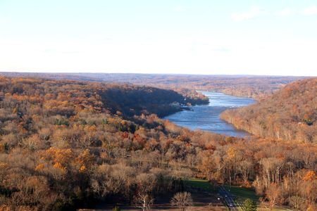 A scenic view of the Delaware Water Gap between Pennsylvania and New Jersey