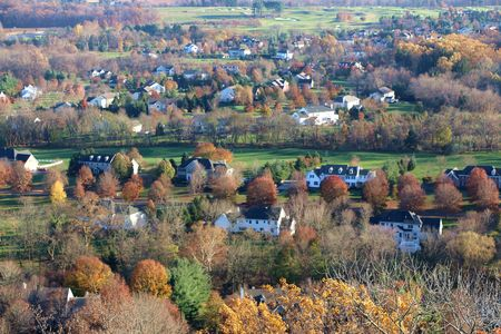 Arial scene of USA town in a rural autumn