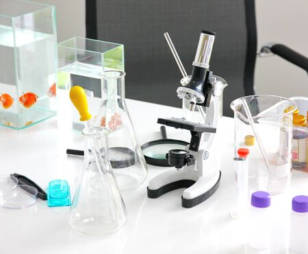 the researcher or scientist or technician equipment on white table in clean room.the equipment research abuot fish  on white table