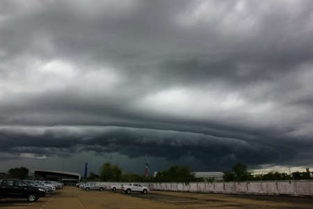 Arcus cloud or shelf cloud before rain storm