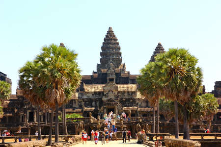 SIEM REAP,CAMBODIA-12 FEBRUARY :2019:Tourist  are visiting the world heritage ANGKOR WAT the biggest construction  about religion hinduims, brahminism