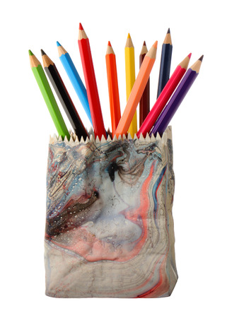 pencil holder: Various colour pencils in ceramics pencil holder