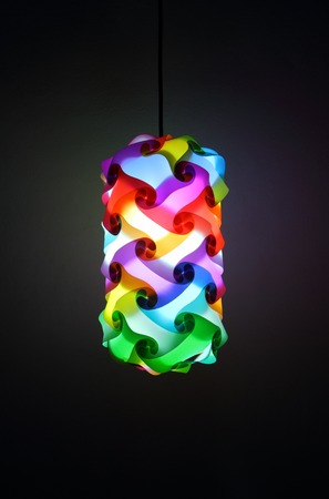 colorful lantern: colorful lantern on room wall background Stock Photo