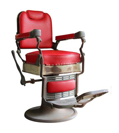 peluquerias: silla de barbero antigua aislada en el fondo blanco