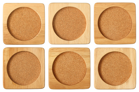 saucers: wooden saucers isolated on white background Stock Photo
