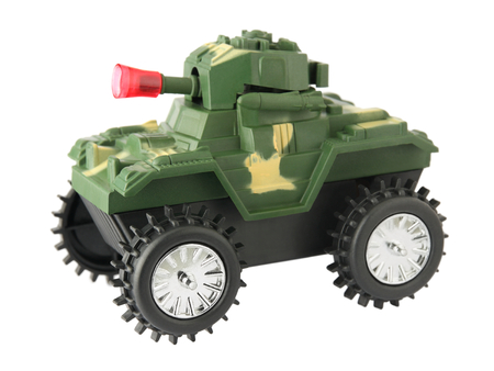 plastic soldier: toy tank, toy war tank isolated on white background