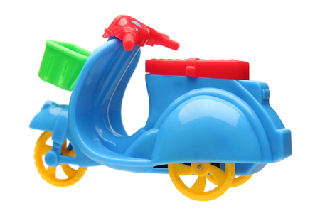 three wheel: three wheel motorcycle toy isolated on white background