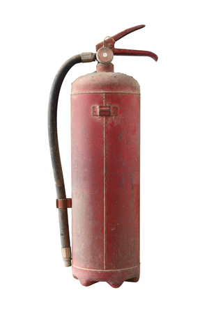 old fire extinguisher with dust cover isolated on white background Banco de Imagens