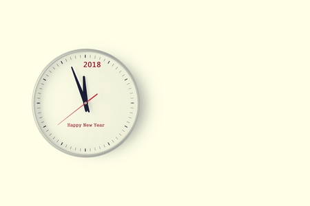 2018 countdown wall clock with space in soft yellow filter