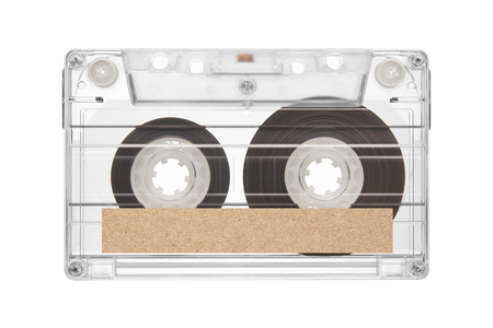 tape cassette with space of brown paper label for text  isolated on white background Zdjęcie Seryjne