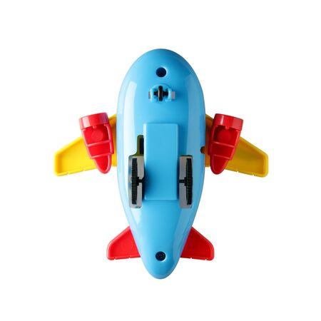 below of colourful plastic toy plane isolated on white background 版權商用圖片