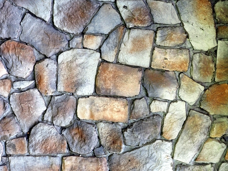desaturated: Round stone wall or pavement using for background or pattern. Stock Photo