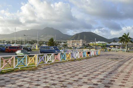 caribbeans: View of St-Kitts mountains from the port. Stock Photo