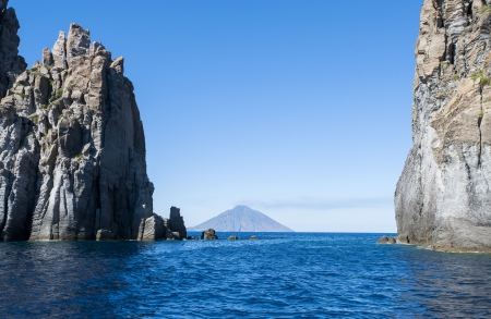 stromboli: europe, italy, sicily, eolian island, landscape with rocks and Stromboli volcano