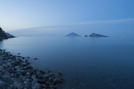 eolie: europe, italy, sicily, eolian island, panarea at sunset Stock Photo