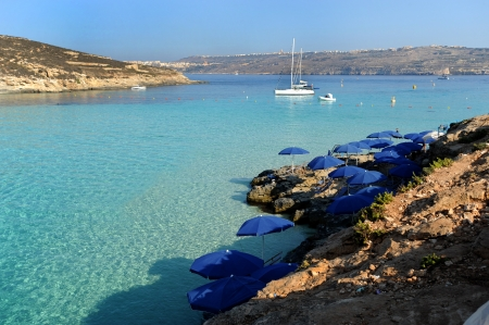 europe, mediterranean, malta, comino island, clear blue sea in blue lagoon