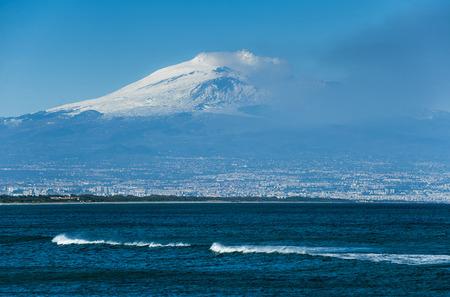 effusion: landscape with etna volcano  Stock Photo