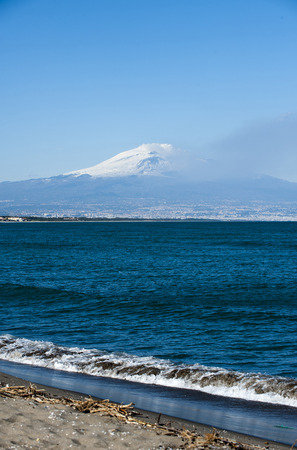 solidify: landscape with etna volcano  Stock Photo