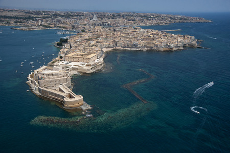 Sicily, Siracusa, aerial view of Ortigia island