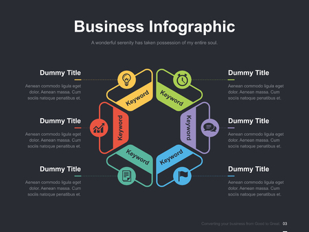 editorial design: Flat business presentation vector slide template with diagram