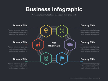 editorial: Flat business presentation vector slide template with diagram