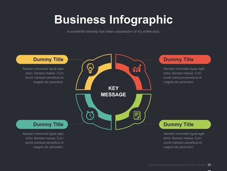 Flat business presentation vector slide template with diagram