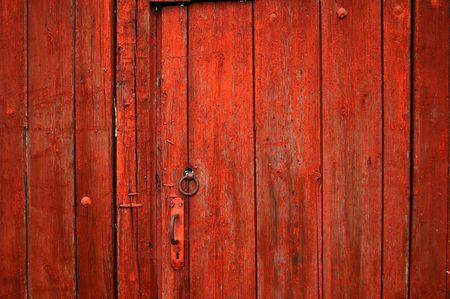 wood abandoned: Red door