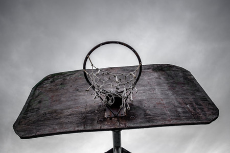 Old basketball hoop and board photo