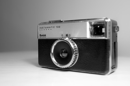 kodak: BELGRADE, SERBIA -  November 7, 2014 : The Kodak Instamatic 133 was a 126 cartridge film camera introduced by Kodak in 1968, one of a long line of Instamatics.