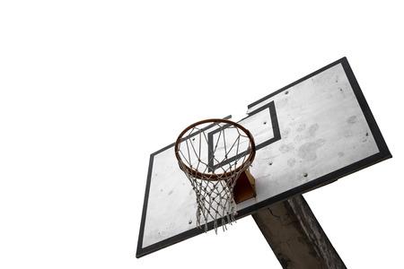 Worn basketball board isolated on white background photo