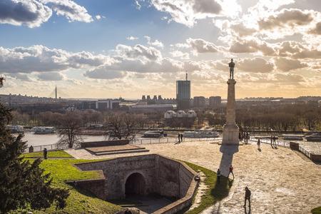 Socha vítězství - Kalemegdan pevnost v Bělehradě Reklamní fotografie