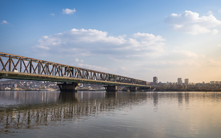 Belgrade Landscape - Bridge over Danube river photo
