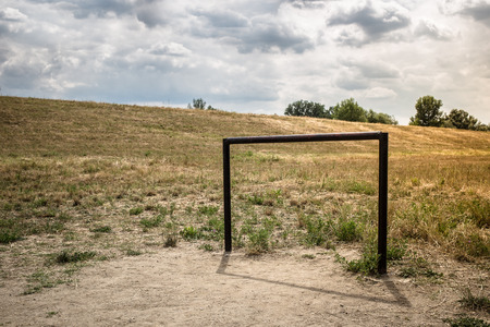 camping pitch: Small soccer goal in the village