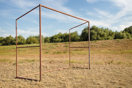 camping pitch: Football goal in the village