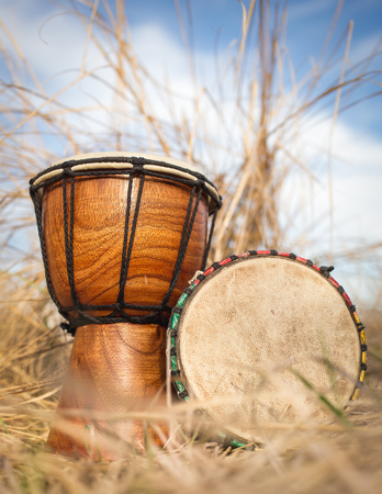 african drums: African hand percussion instrument - Djembe drums Stock Photo
