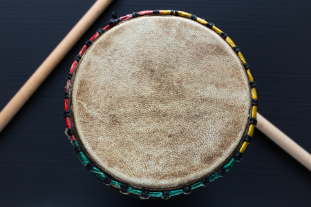 djembe drum: Djembe with drum sticks - Top view