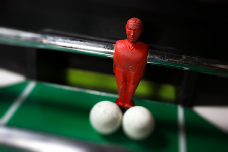 Close up of table football goalkeeper