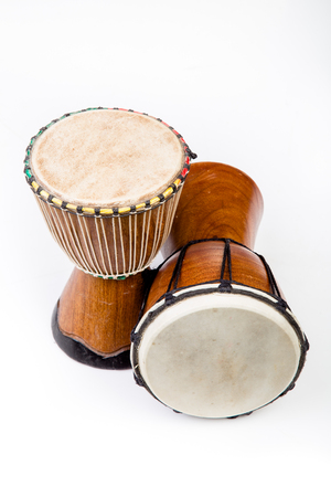 Two wooden African Djembe drums