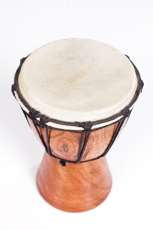 One Djembe drum isolated on white