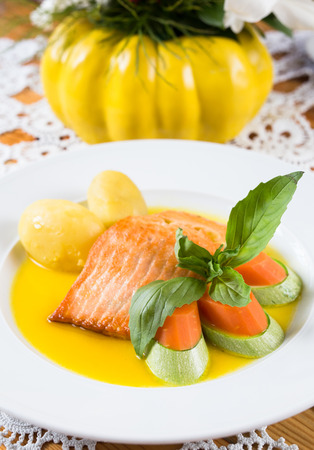 Citrus Marinated Salmon with potato and carrots