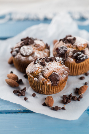 Three chocolate Muffin on table