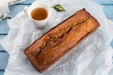 Fresh homemade banana bread  with cup of tea