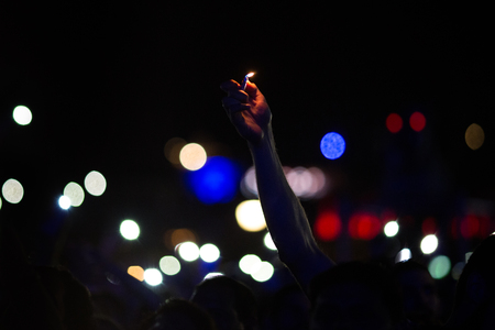 Romance on the concert, lighter in the hand