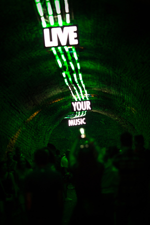 Live your music sign, crowd on the music festival Standard-Bild