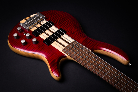 5 string electric bass guitar Stock Photo